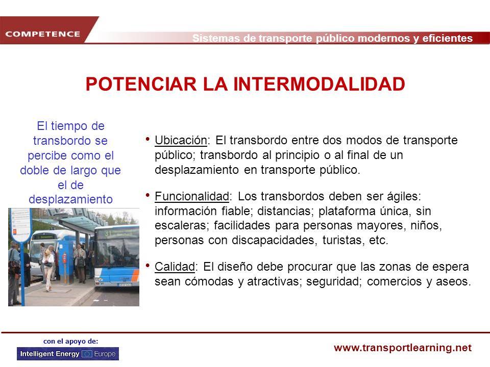 Sistemas de transporte público modernos y eficientes www.transportlearning.net con el apoyo de: POTENCIAR LA INTERMODALIDAD Ubicación: El transbordo e