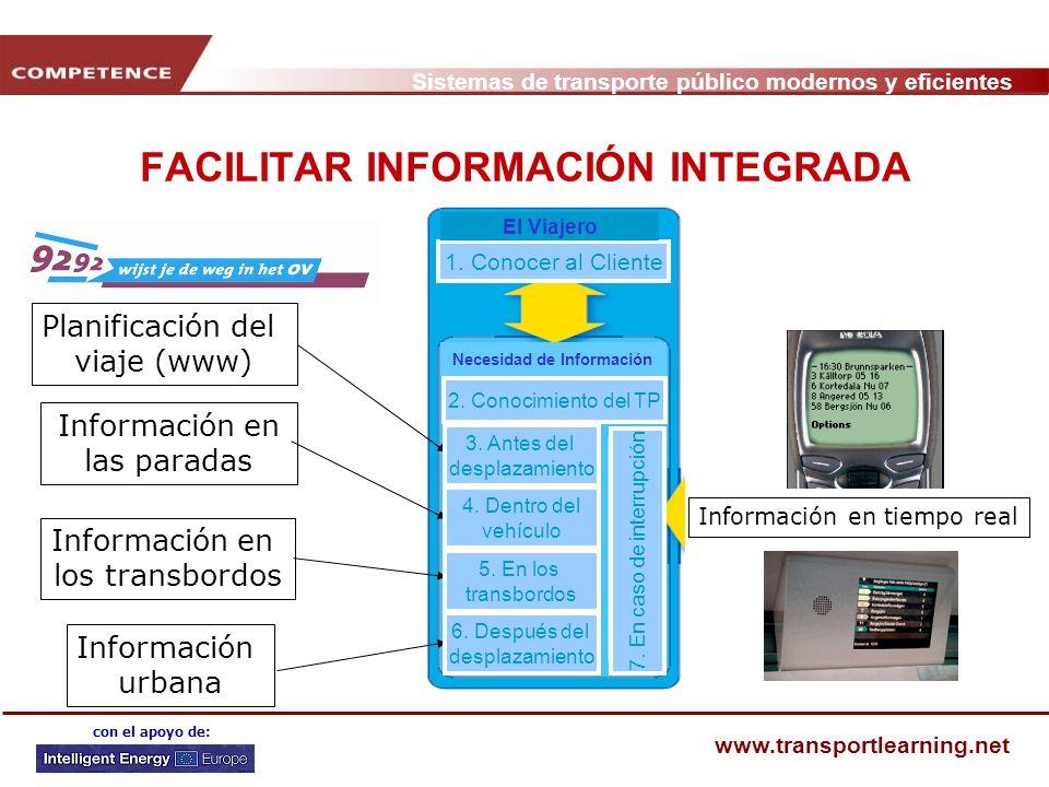 Sistemas de transporte público modernos y eficientes www.transportlearning.net con el apoyo de: FACILITAR INFORMACIÓN INTEGRADA Planificación del viaj