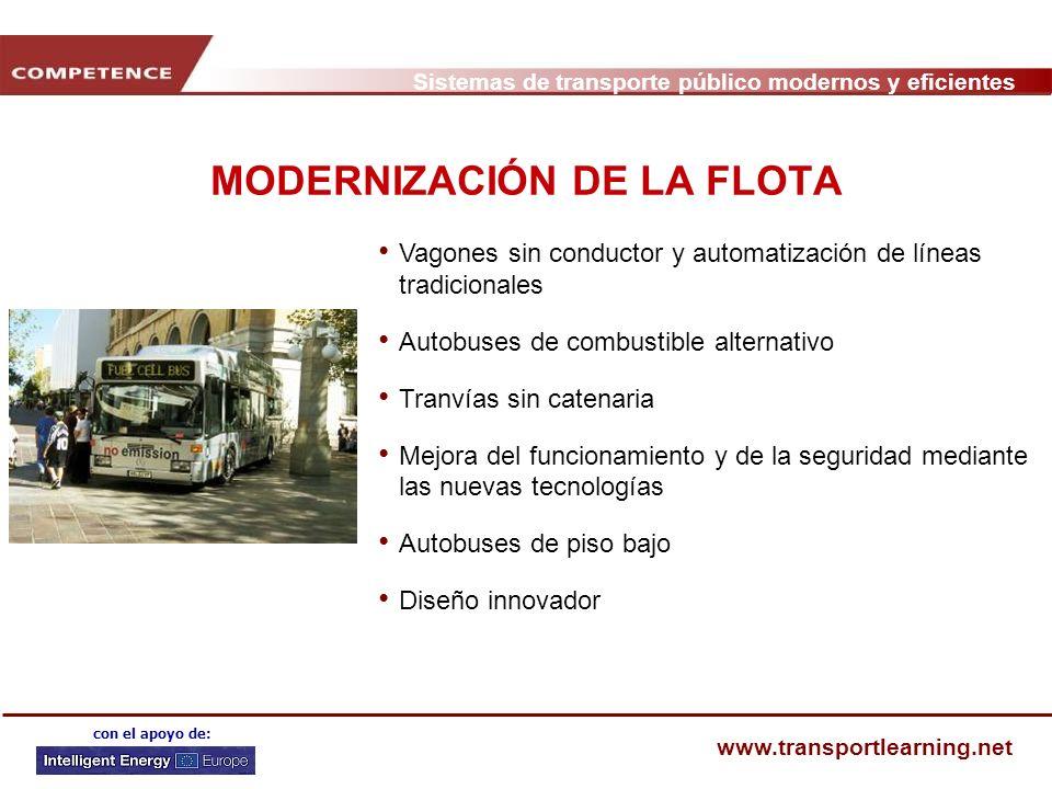Sistemas de transporte público modernos y eficientes www.transportlearning.net con el apoyo de: MODERNIZACIÓN DE LA FLOTA Vagones sin conductor y auto