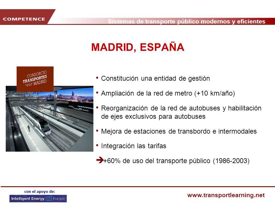 Sistemas de transporte público modernos y eficientes www.transportlearning.net con el apoyo de: MADRID, ESPAÑA Constitución una entidad de gestión Amp