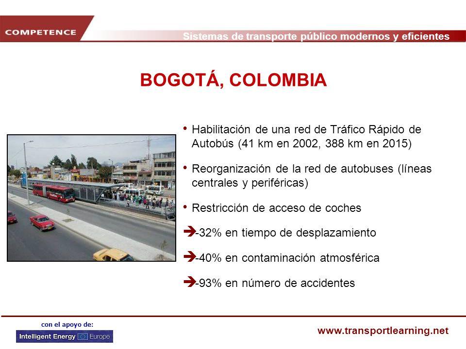 Sistemas de transporte público modernos y eficientes www.transportlearning.net con el apoyo de: BOGOTÁ, COLOMBIA Habilitación de una red de Tráfico Rá