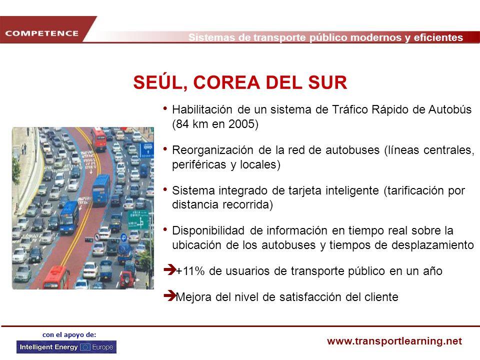 Sistemas de transporte público modernos y eficientes www.transportlearning.net con el apoyo de: SEÚL, COREA DEL SUR Habilitación de un sistema de Tráf