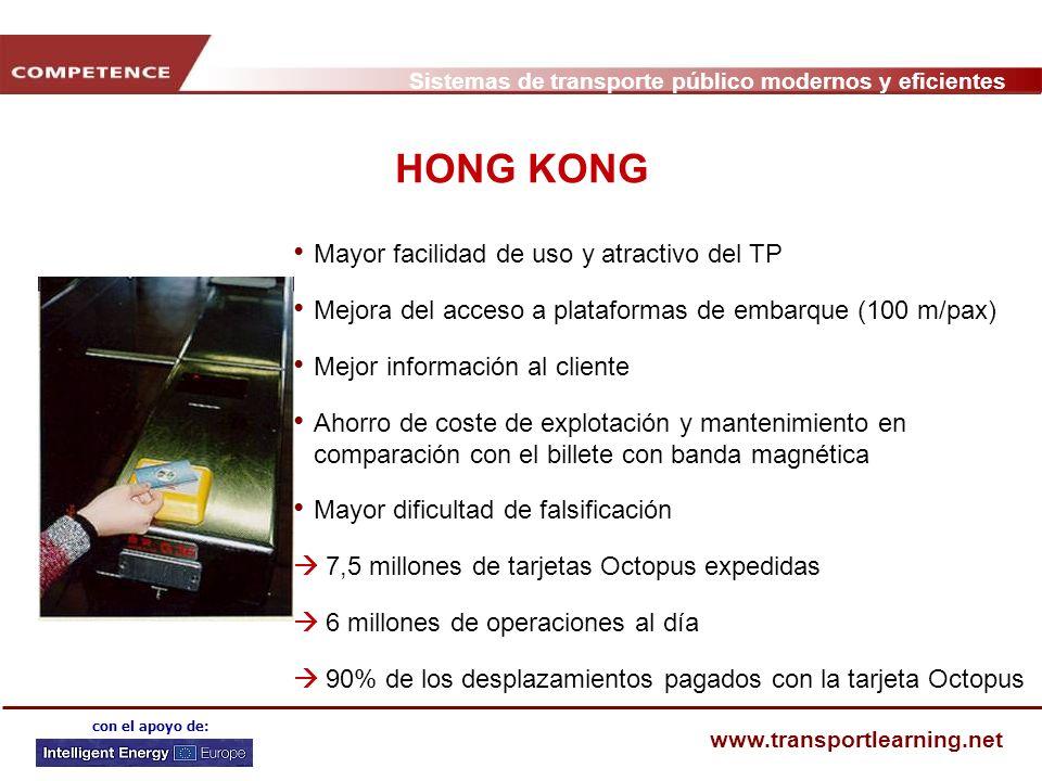 Sistemas de transporte público modernos y eficientes www.transportlearning.net con el apoyo de: HONG KONG Mayor facilidad de uso y atractivo del TP Me