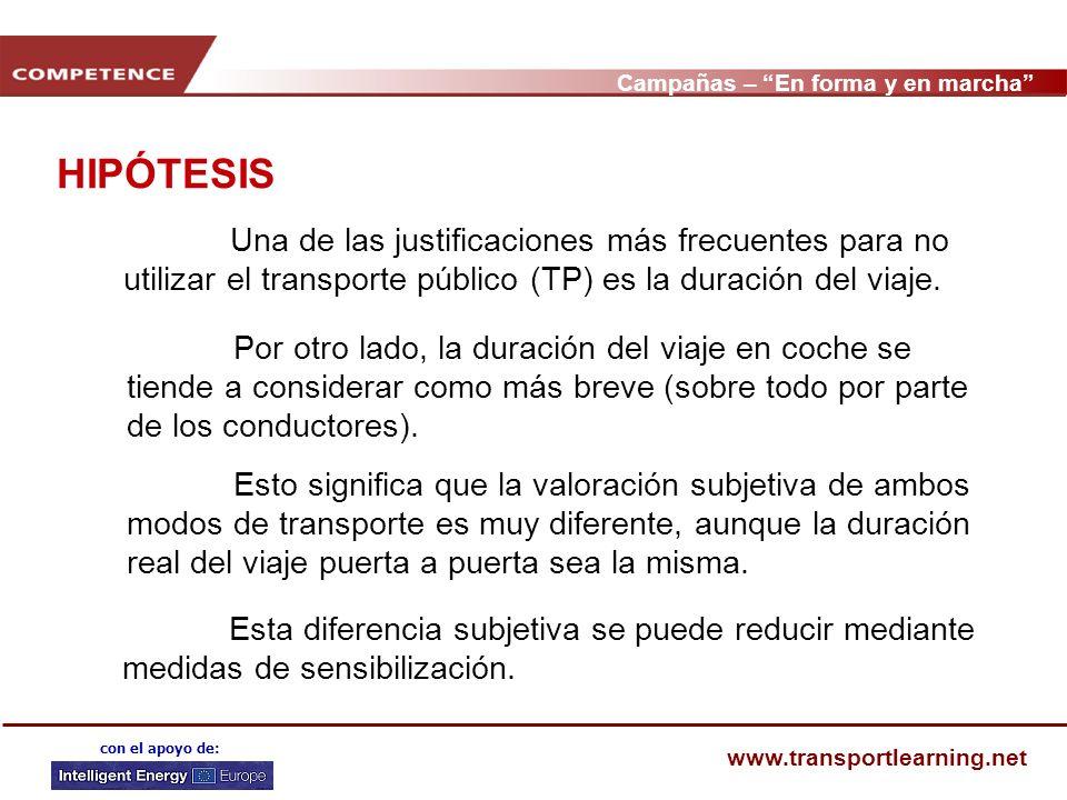 Campañas – En forma y en marcha www.transportlearning.net con el apoyo de: HIPÓTESIS Una de las justificaciones más frecuentes para no utilizar el transporte público (TP) es la duración del viaje.