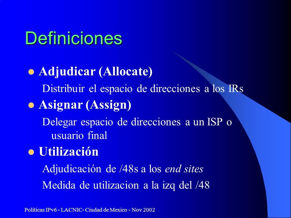 Políticas IPv6 - LACNIC- Ciudad de Mexico - Nov 2002 Definiciones Adjudicar (Allocate) Distribuir el espacio de direcciones a los IRs Asignar (Assign)