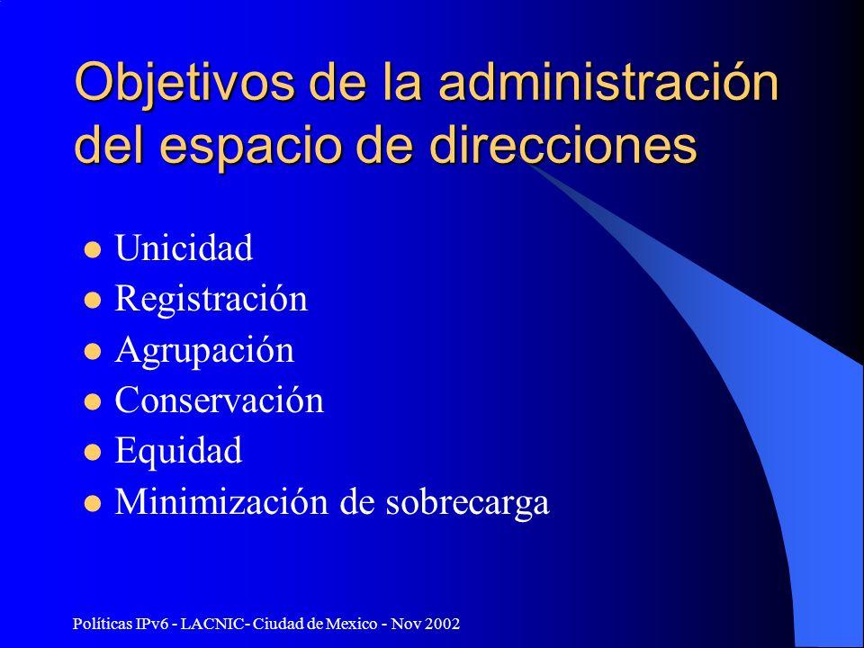 Políticas IPv6 - LACNIC- Ciudad de Mexico - Nov 2002 Objetivos de la administración del espacio de direcciones Unicidad Registración Agrupación Conservación Equidad Minimización de sobrecarga