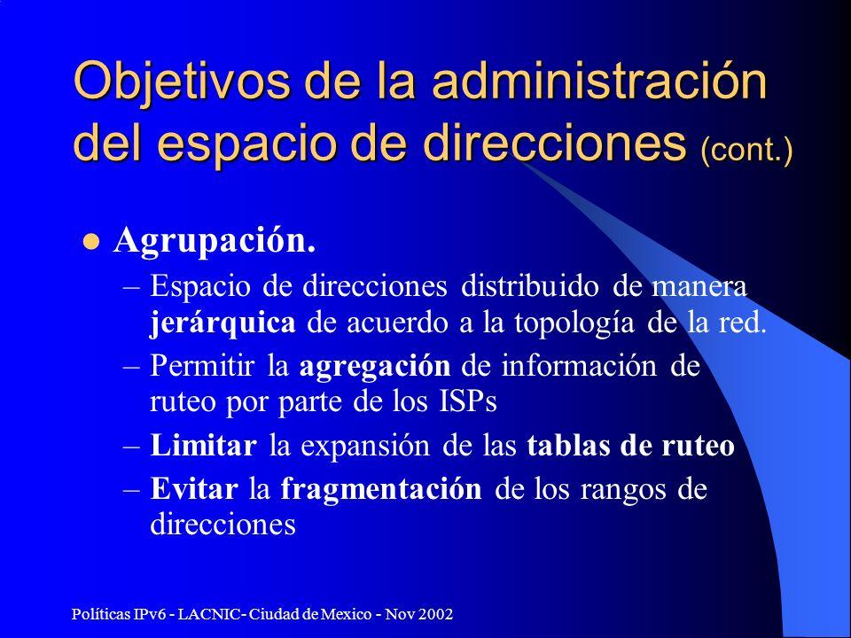 Políticas IPv6 - LACNIC- Ciudad de Mexico - Nov 2002 Objetivos de la administración del espacio de direcciones (cont.) Agrupación. –Espacio de direcci