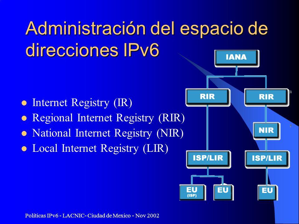 Políticas IPv6 - LACNIC- Ciudad de Mexico - Nov 2002 Administración del espacio de direcciones IPv6 Internet Registry (IR) Regional Internet Registry (RIR) National Internet Registry (NIR) Local Internet Registry (LIR)