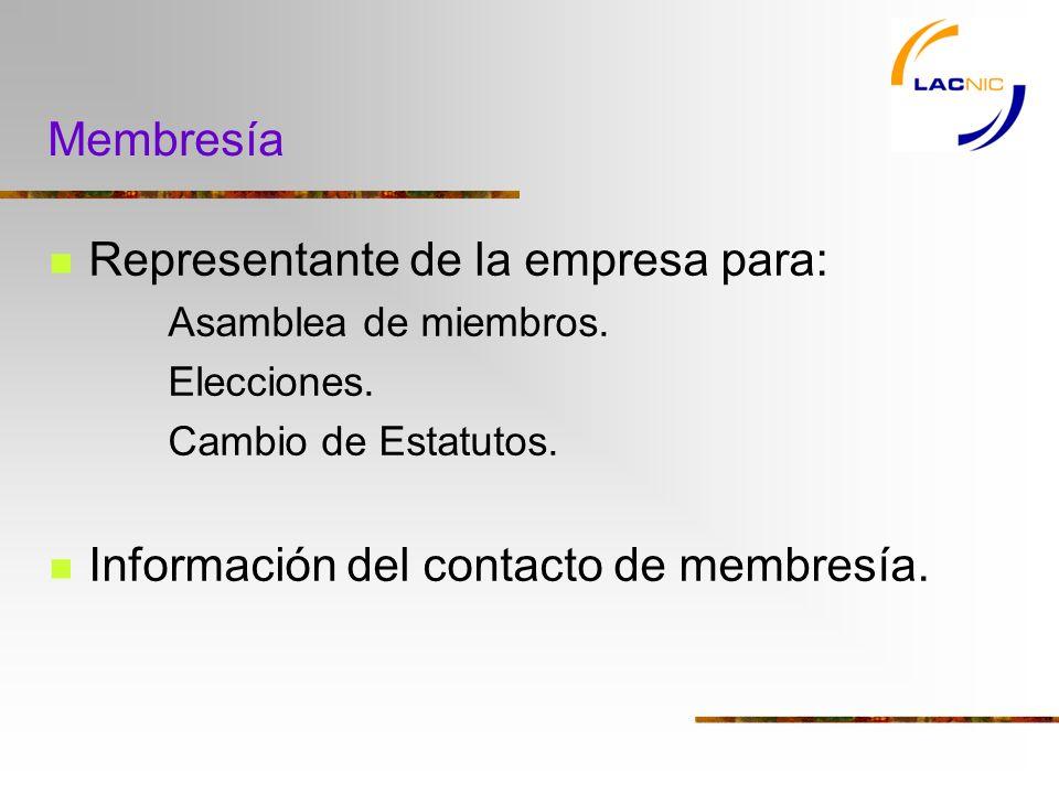 Membresía Representante de la empresa para: Asamblea de miembros.
