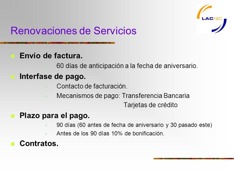 Renovaciones de Servicios Envío de factura.60 días de anticipación a la fecha de aniversario.