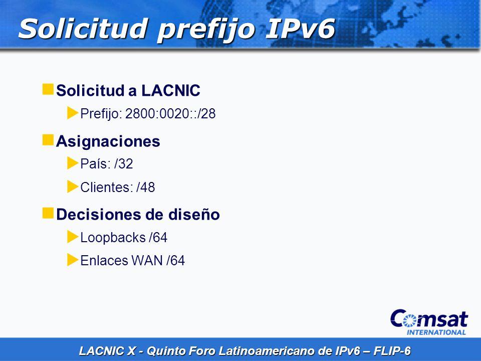 LACNIC X - Quinto Foro Latinoamericano de IPv6 – FLIP-6 Solicitud prefijo IPv6 Solicitud a LACNIC Prefijo: 2800:0020::/28 Asignaciones País: /32 Clien
