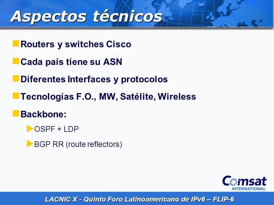 LACNIC X - Quinto Foro Latinoamericano de IPv6 – FLIP-6 Aspectos técnicos Routers y switches Cisco Cada país tiene su ASN Diferentes Interfaces y prot