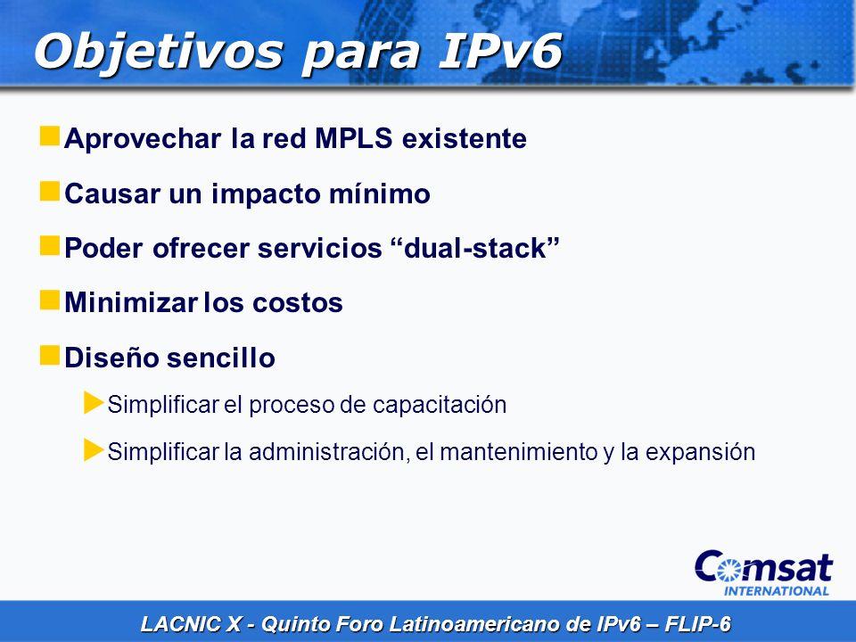 LACNIC X - Quinto Foro Latinoamericano de IPv6 – FLIP-6 Objetivos para IPv6 Aprovechar la red MPLS existente Causar un impacto mínimo Poder ofrecer se