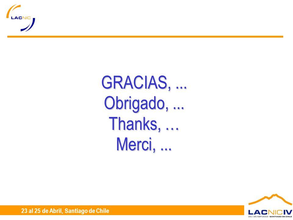 23 al 25 de Abril, Santiago de Chile GRACIAS,... Obrigado,... Thanks, … Merci,...