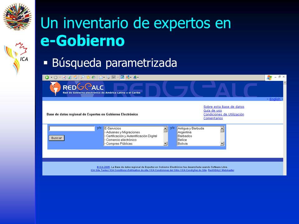 Un inventario de expertos en e-Gobierno Búsqueda parametrizada