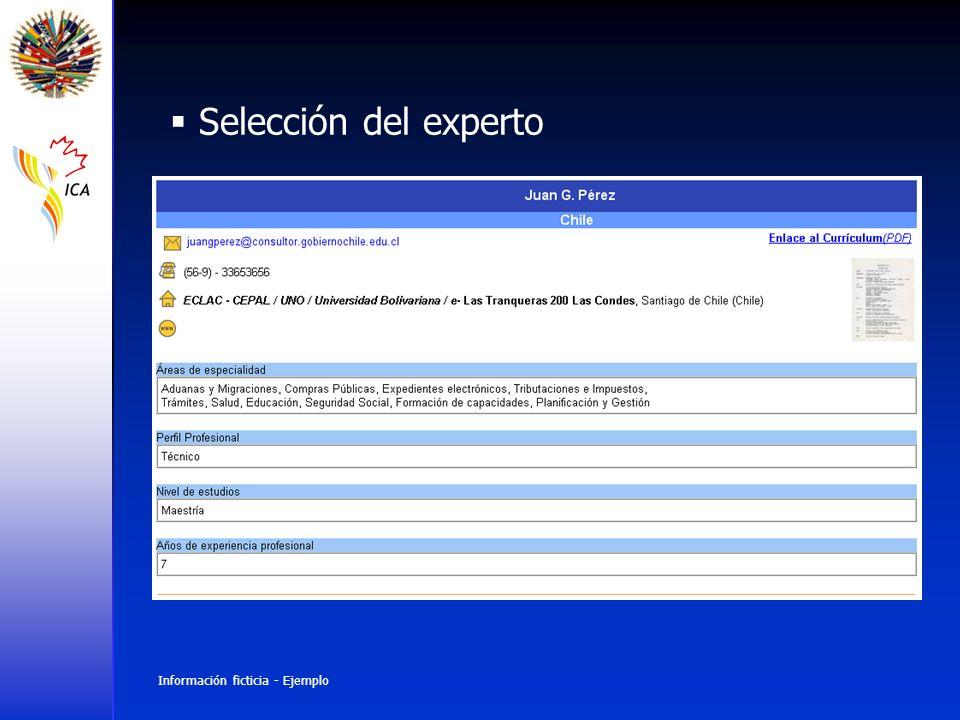 Selección del experto Información ficticia - Ejemplo