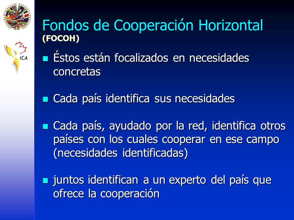 Fondos de Cooperación Horizontal (FOCOH) Éstos están focalizados en necesidades concretas Éstos están focalizados en necesidades concretas Cada país i