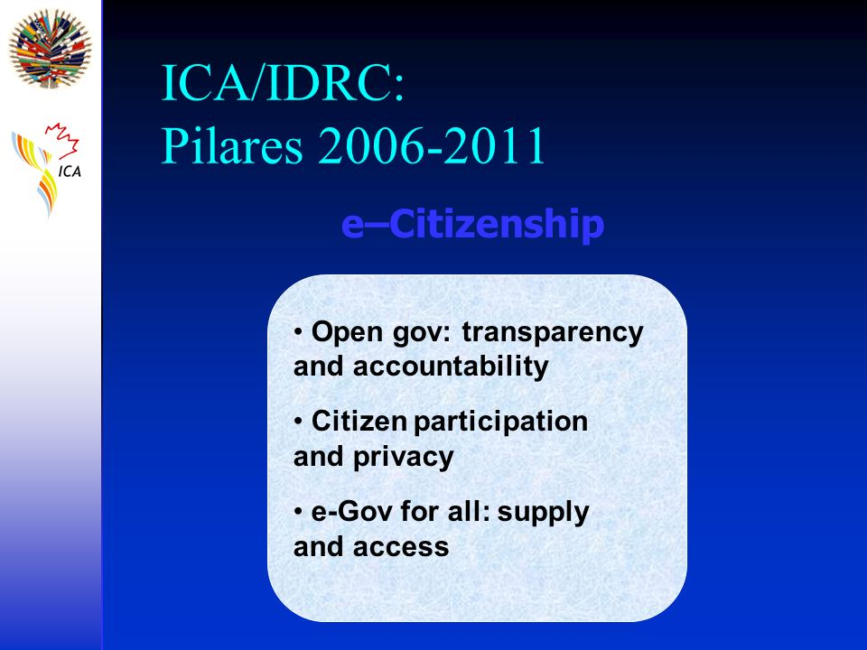 ICA/IDRC: Pilares 2006-2011 Open gov: transparency and accountability Citizen participation and privacy e-Gov for all: supply and access e–Citizenship