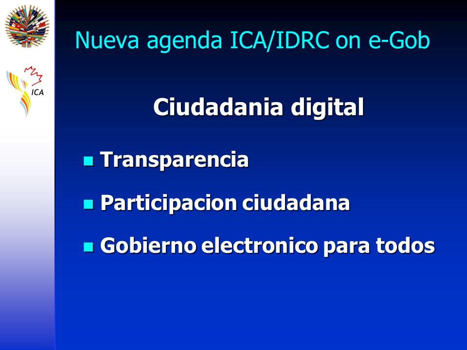 Nueva agenda ICA/IDRC on e-Gob Ciudadania digital Transparencia Transparencia Participacion ciudadana Participacion ciudadana Gobierno electronico para todos Gobierno electronico para todos