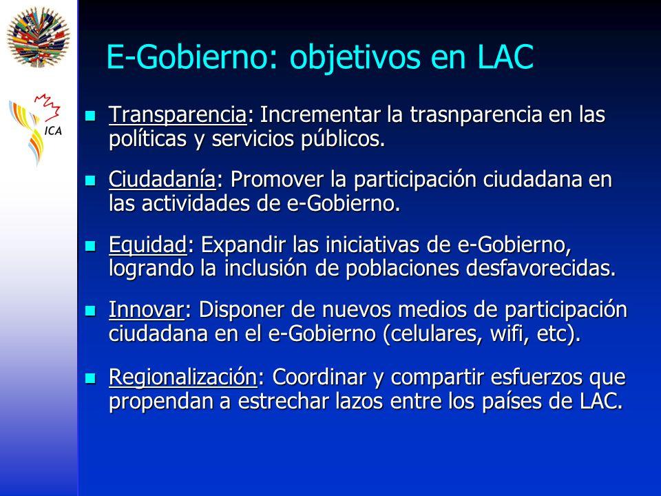 E-Gobierno: objetivos en LAC Transparencia: Incrementar la trasnparencia en las políticas y servicios públicos. Transparencia: Incrementar la trasnpar