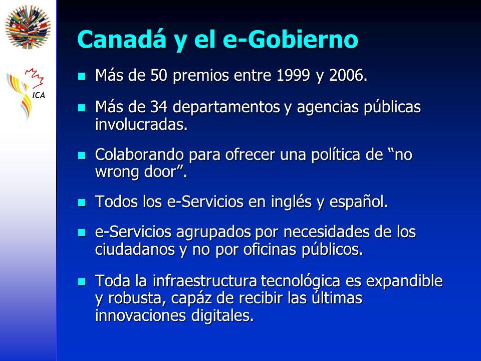Canadá y el e-Gobierno Más de 50 premios entre 1999 y 2006. Más de 50 premios entre 1999 y 2006. Más de 34 departamentos y agencias públicas involucra