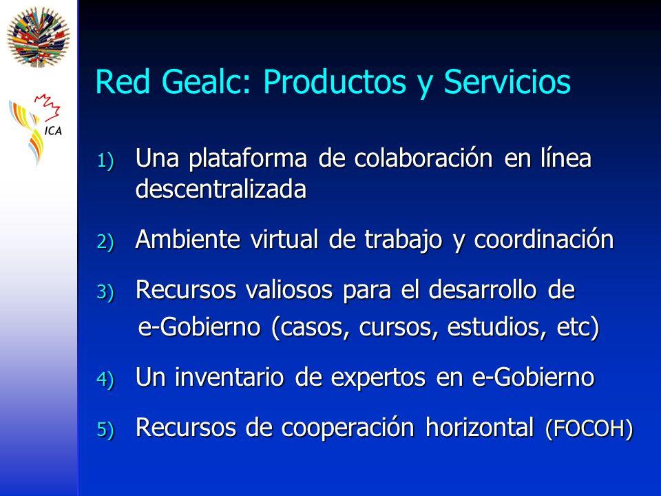 Red Gealc: Productos y Servicios 1) Una plataforma de colaboración en línea descentralizada 2) Ambiente virtual de trabajo y coordinación 3) Recursos