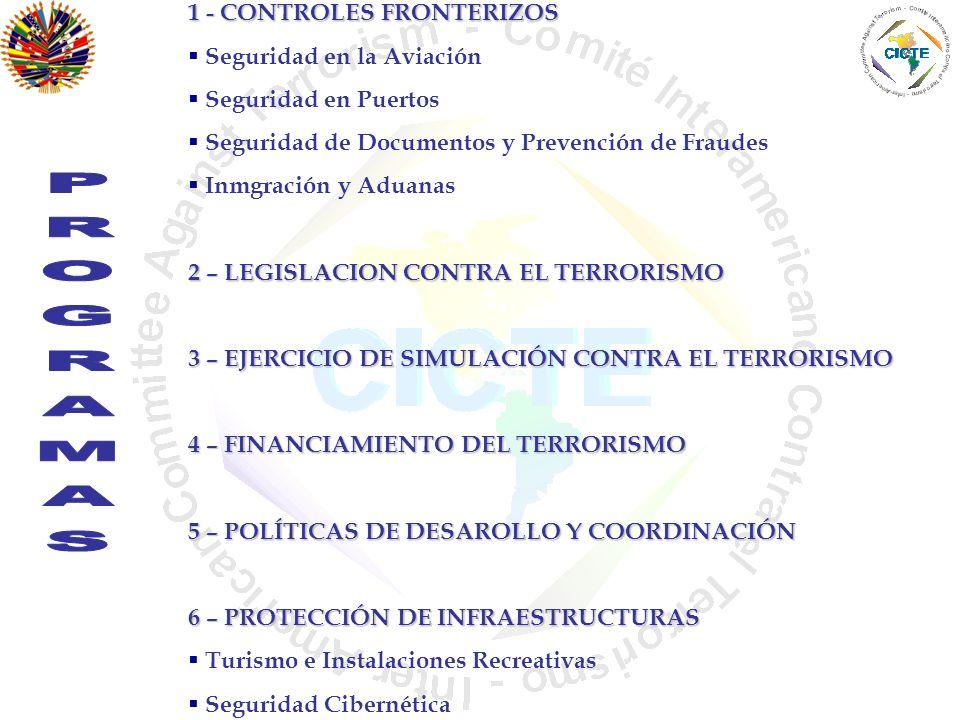 1 - CONTROLES FRONTERIZOS Seguridad en la Aviación Seguridad en Puertos Seguridad de Documentos y Prevención de Fraudes Inmgración y Aduanas 2 – LEGIS