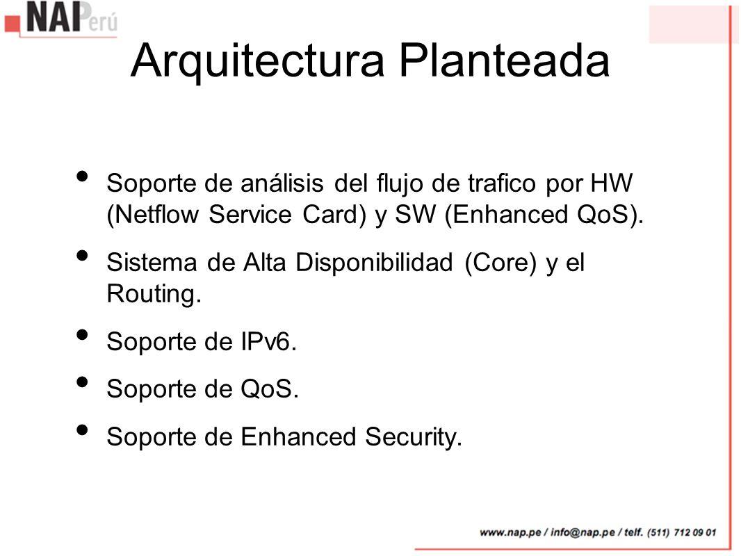 Arquitectura Planteada Soporte de análisis del flujo de trafico por HW (Netflow Service Card) y SW (Enhanced QoS). Sistema de Alta Disponibilidad (Cor