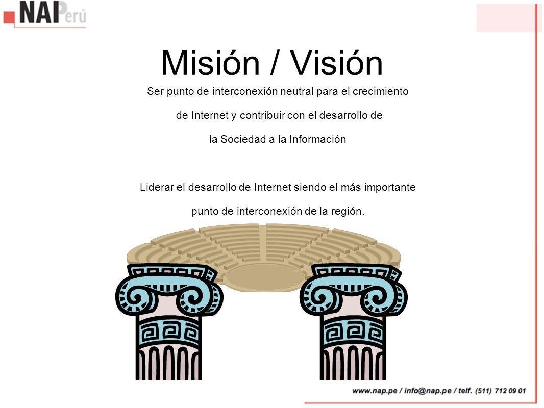 Misión / Visión Ser punto de interconexión neutral para el crecimiento de Internet y contribuir con el desarrollo de la Sociedad a la Información Lide