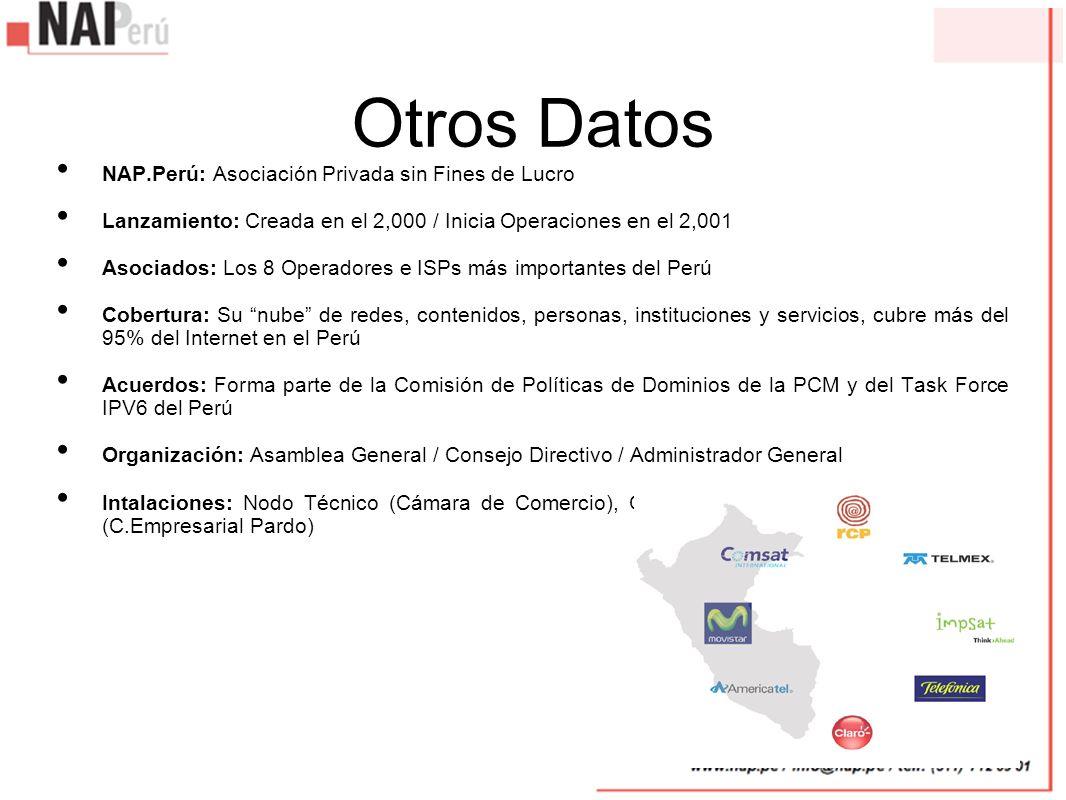 Otros Datos NAP.Perú: Asociación Privada sin Fines de Lucro Lanzamiento: Creada en el 2,000 / Inicia Operaciones en el 2,001 Asociados: Los 8 Operador