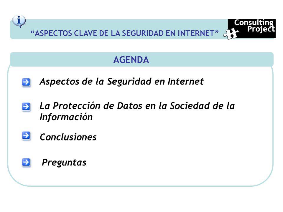 AGENDA Aspectos de la Seguridad en Internet La Protección de Datos en la Sociedad de la Información Conclusiones Preguntas ASPECTOS CLAVE DE LA SEGURI