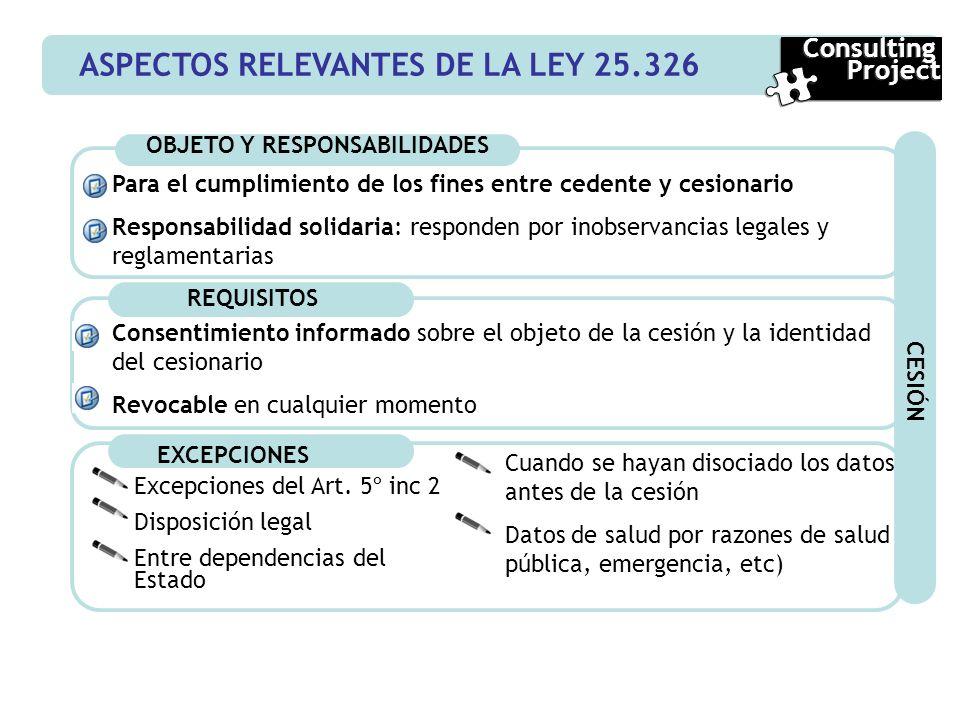 ASPECTOS RELEVANTES DE LA LEY 25.326 Consulting Project Consulting Project OBJETO Y RESPONSABILIDADES REQUISITOS Consentimiento informado sobre el obj