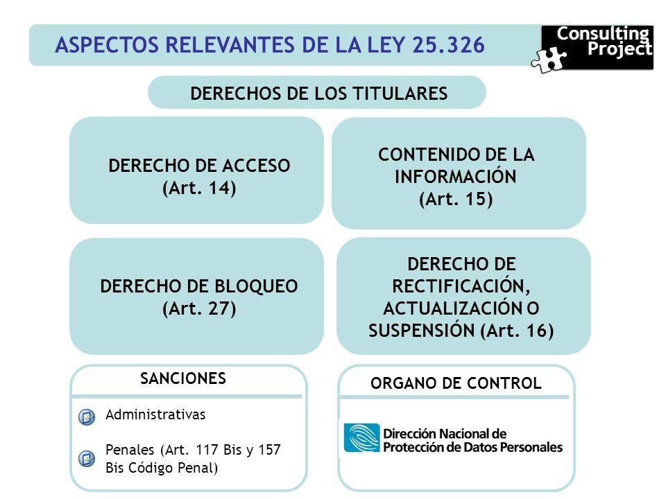 ASPECTOS RELEVANTES DE LA LEY 25.326 Consulting Project Consulting Project DERECHOS DE LOS TITULARES CONTENIDO DE LA INFORMACIÓN (Art. 15) DERECHO DE