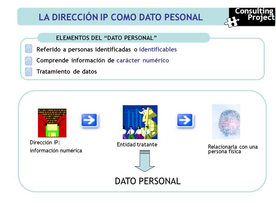 ELEMENTOS DEL DATO PERSONAL Referido a personas identificadas o identificables Comprende información de carácter numérico Tratamiento de datos Direcci