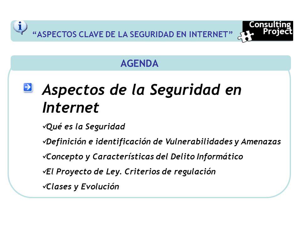 AGENDA Aspectos de la Seguridad en Internet Qué es la Seguridad Definición e identificación de Vulnerabilidades y Amenazas Concepto y Características