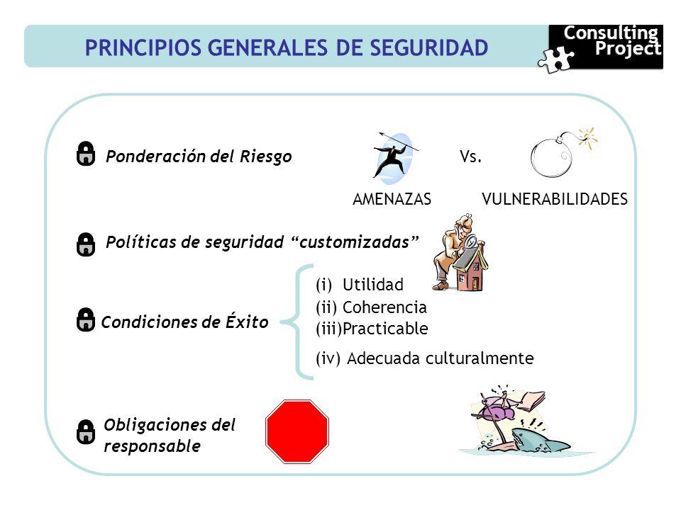 PRINCIPIOS GENERALES DE SEGURIDAD Ponderación del Riesgo AMENAZASVULNERABILIDADES Políticas de seguridad customizadas Condiciones de Éxito (i)Utilidad