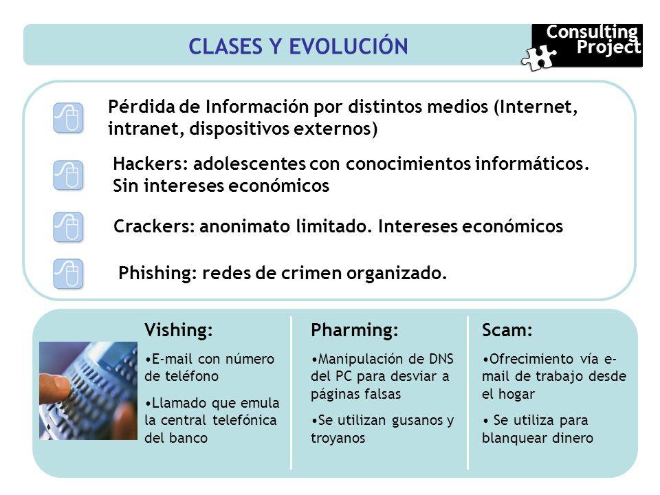 CLASES Y EVOLUCIÓN Pérdida de Información por distintos medios (Internet, intranet, dispositivos externos) Hackers: adolescentes con conocimientos inf