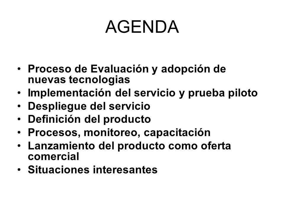 AGENDA Proceso de Evaluación y adopción de nuevas tecnologias Implementación del servicio y prueba piloto Despliegue del servicio Definición del produ