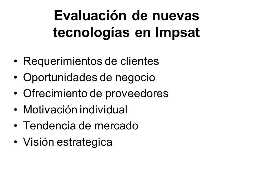 Evaluación de nuevas tecnologías en Impsat Requerimientos de clientes Oportunidades de negocio Ofrecimiento de proveedores Motivación individual Tende