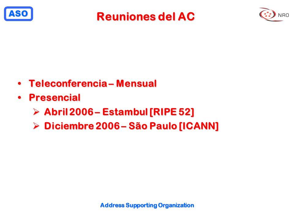 ASO Address Supporting Organization Reuniones del AC Teleconferencia – MensualTeleconferencia – Mensual PresencialPresencial Abril 2006 – Estambul [RIPE 52] Abril 2006 – Estambul [RIPE 52] Diciembre 2006 – São Paulo [ICANN] Diciembre 2006 – São Paulo [ICANN]