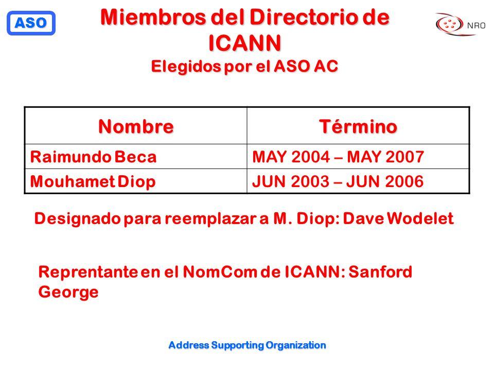ASO Address Supporting Organization Miembros del Directorio de ICANN Elegidos por el ASO AC NombreTérmino Raimundo BecaMAY 2004 – MAY 2007 Mouhamet DiopJUN 2003 – JUN 2006 Designado para reemplazar a M.