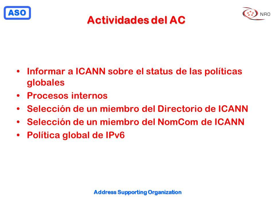 ASO Address Supporting Organization Actividades del AC Informar a ICANN sobre el status de las políticas globales Procesos internos Selección de un miembro del Directorio de ICANN Selección de un miembro del NomCom de ICANN Política global de IPv6