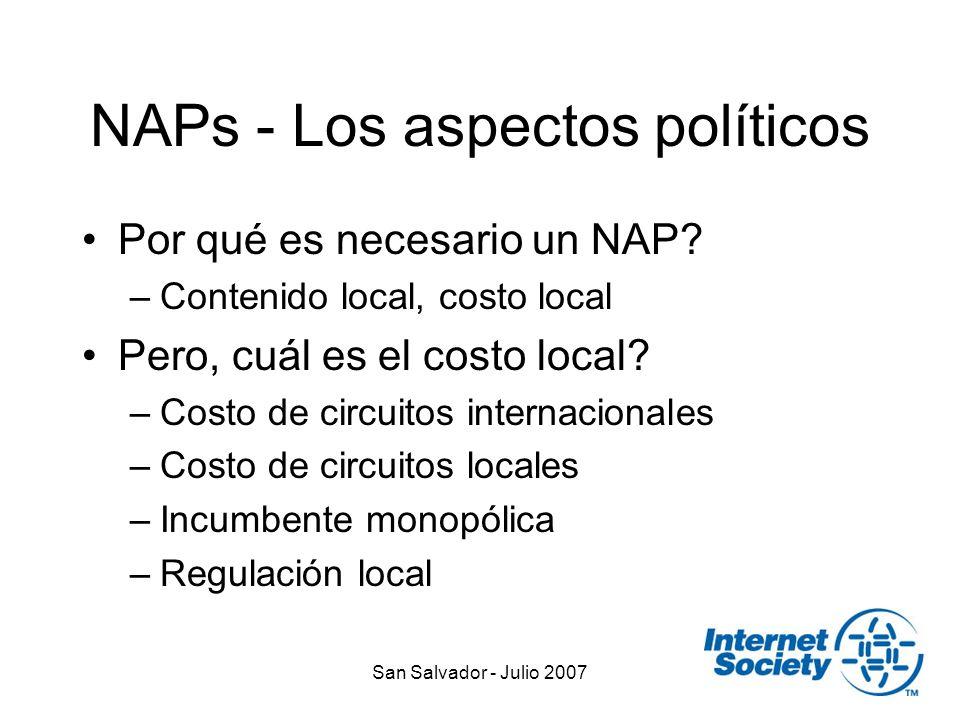 San Salvador - Julio 2007 NAPs - Los aspectos políticos Por qué es necesario un NAP.