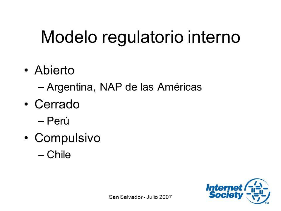 San Salvador - Julio 2007 Modelo regulatorio interno Abierto –Argentina, NAP de las Américas Cerrado –Perú Compulsivo –Chile