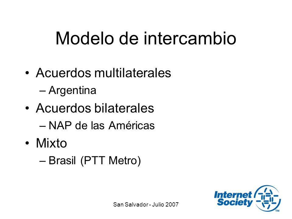 San Salvador - Julio 2007 Modelo de intercambio Acuerdos multilaterales –Argentina Acuerdos bilaterales –NAP de las Américas Mixto –Brasil (PTT Metro)