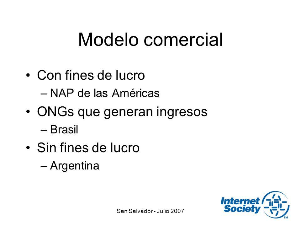 San Salvador - Julio 2007 Modelo comercial Con fines de lucro –NAP de las Américas ONGs que generan ingresos –Brasil Sin fines de lucro –Argentina