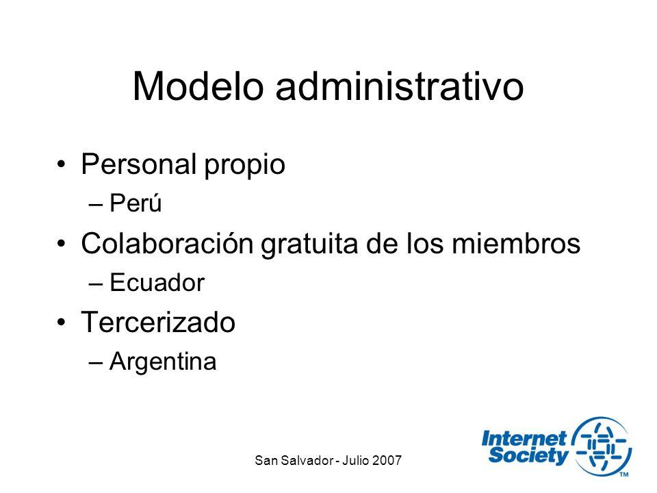 San Salvador - Julio 2007 Modelo administrativo Personal propio –Perú Colaboración gratuita de los miembros –Ecuador Tercerizado –Argentina