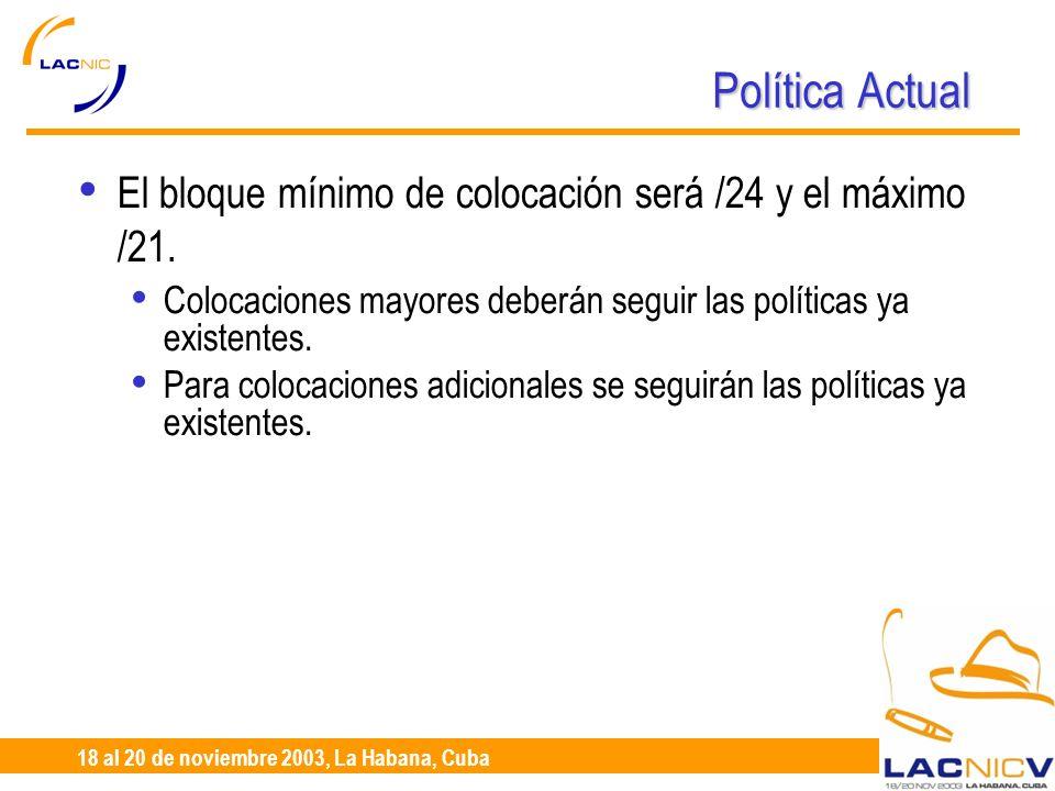23 al 25 de Abril, Santiago de Chile 18 al 20 de noviembre 2003, La Habana, Cuba Política Actual El bloque mínimo de colocación será /24 y el máximo /21.