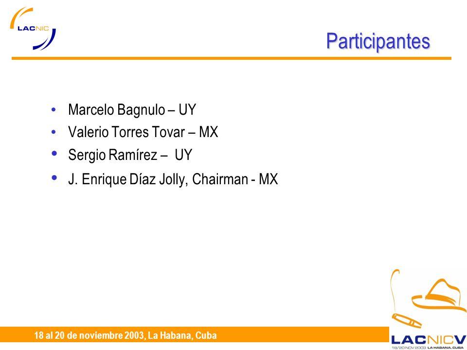 23 al 25 de Abril, Santiago de Chile 18 al 20 de noviembre 2003, La Habana, Cuba Participantes Marcelo Bagnulo – UY Valerio Torres Tovar – MX Sergio Ramírez – UY J.