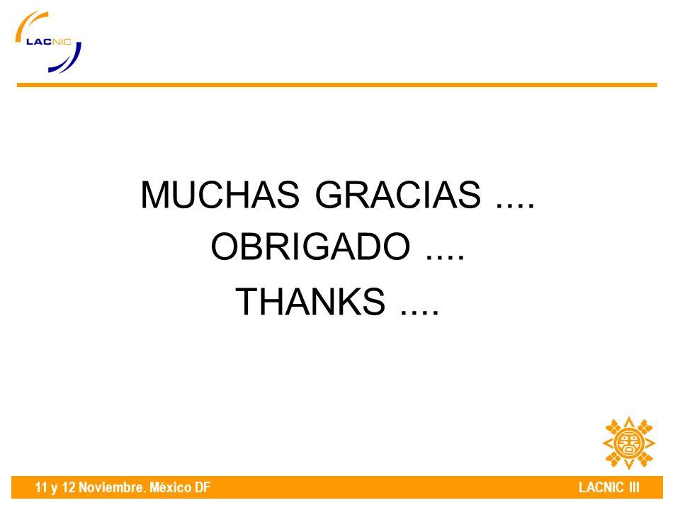 11 y 12 Noviembre. México DF LACNIC III MUCHAS GRACIAS.... OBRIGADO.... THANKS....